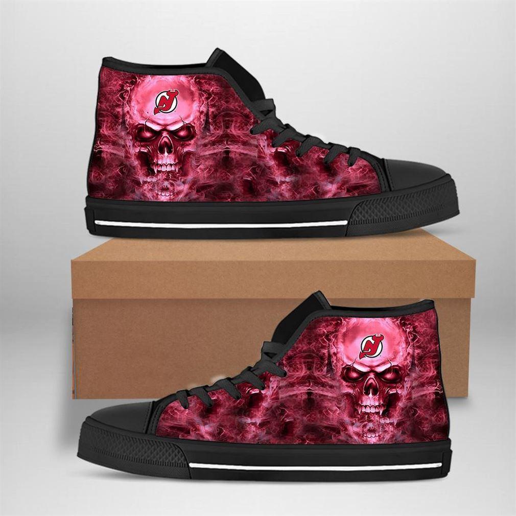 New Jersey Devils Nhl Hockey Skull High Top Vans Shoes