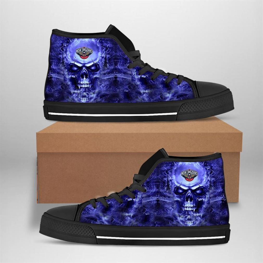 New Orleans Pelicans Nba Basketball Skull High Top Vans Shoes