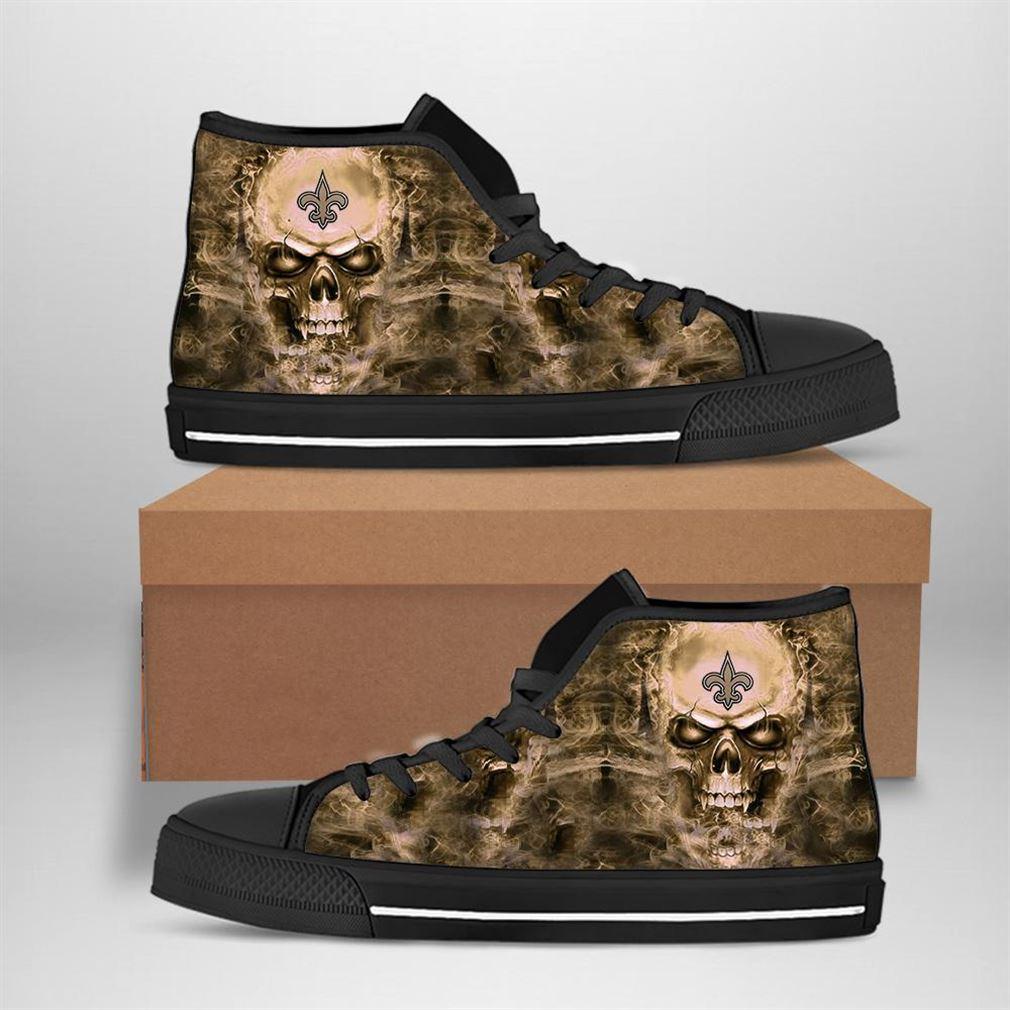 New Orleans Saints Nfl Football Skull High Top Vans Shoes