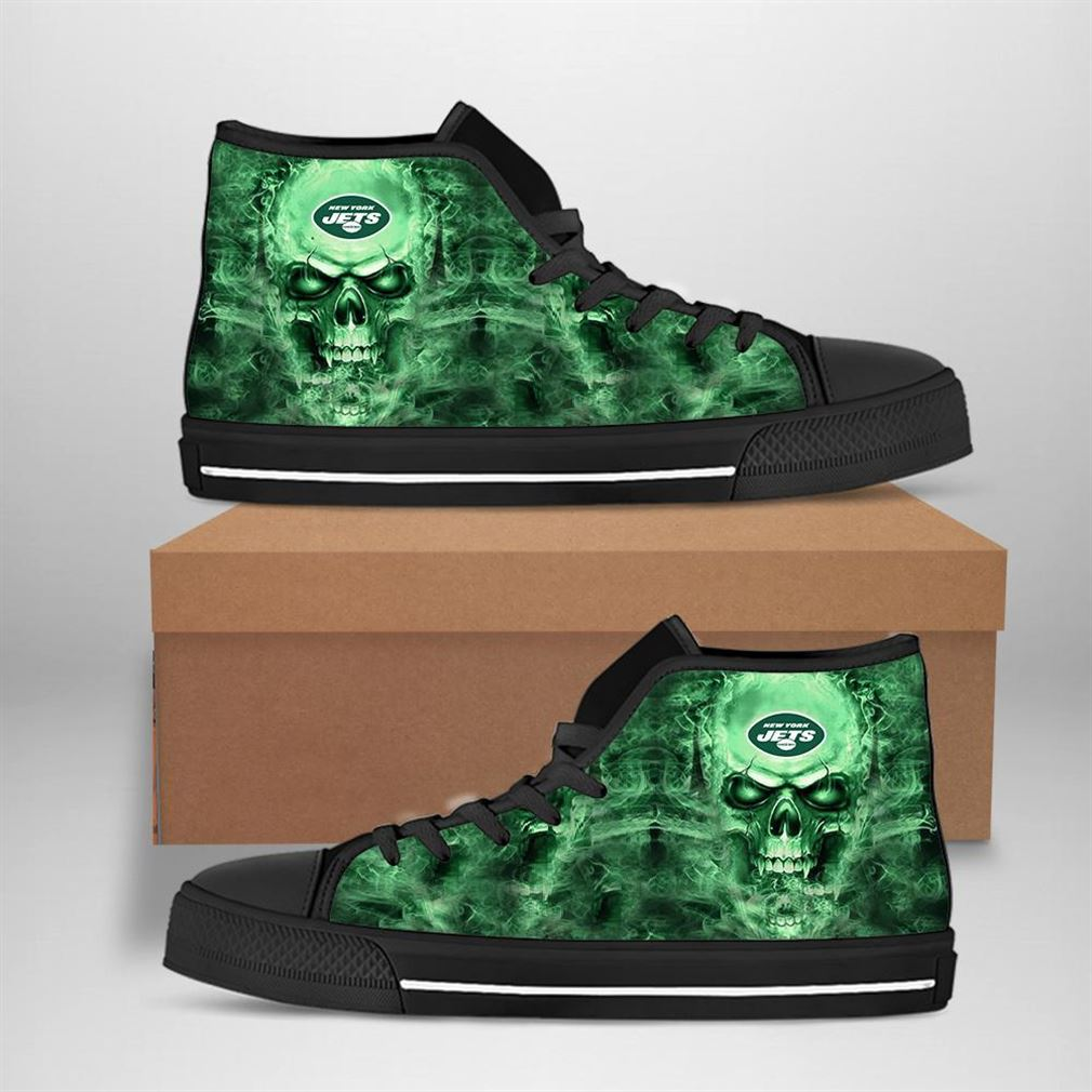 New York Jets Nfl Football Skull High Top Vans Shoes