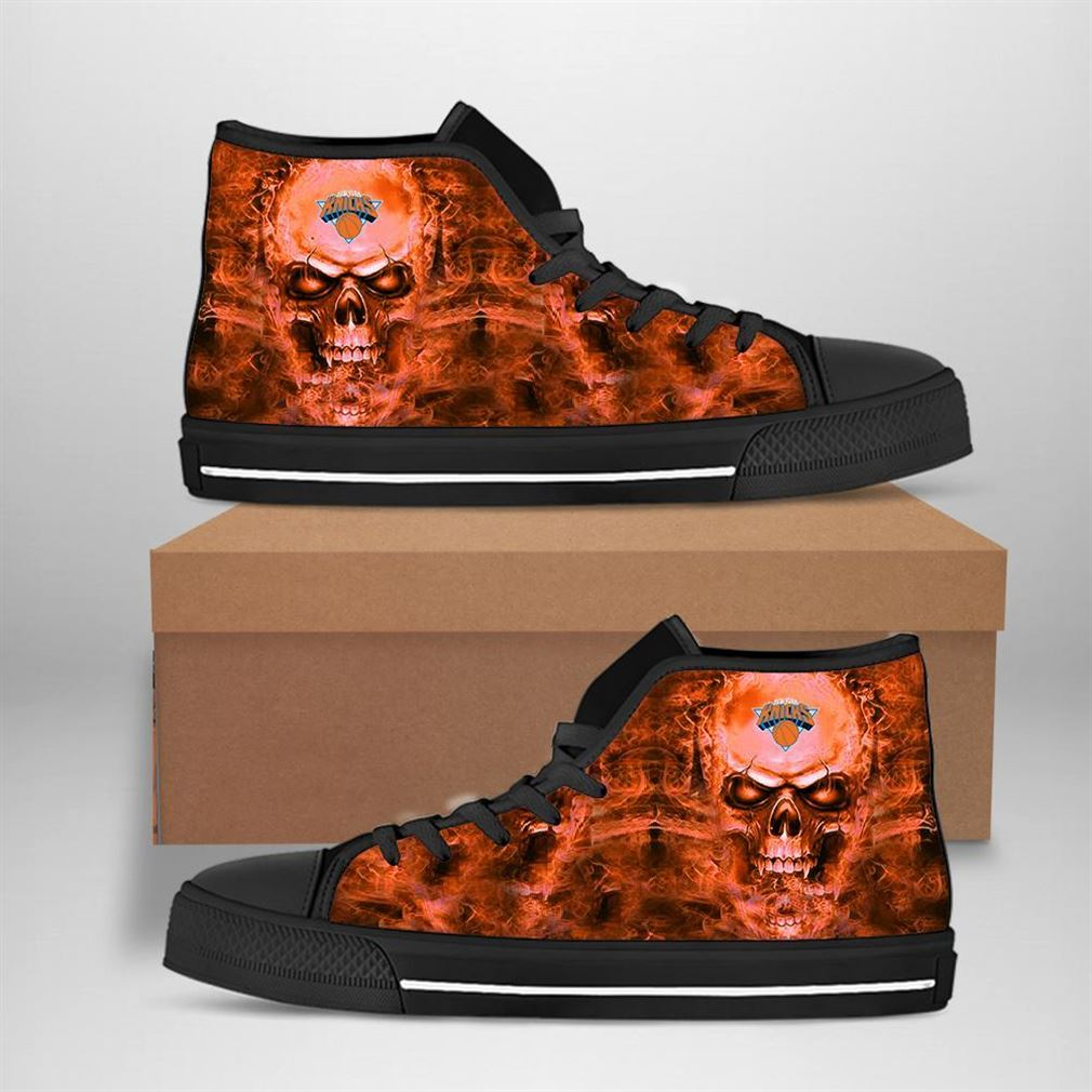 New York Knicks Nba Basketball Skull High Top Vans Shoes