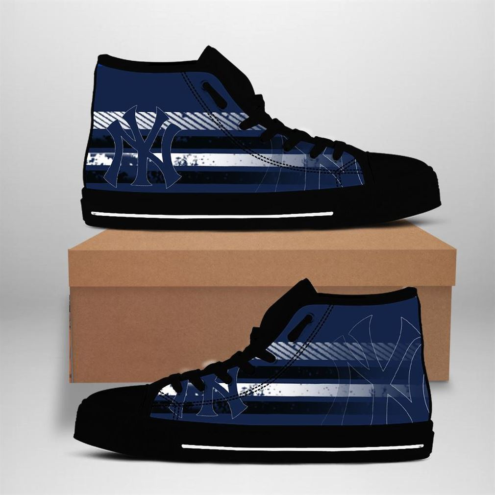 New York Yankees Mlb Baseball High Top Vans Shoes