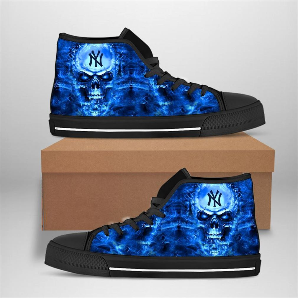 New York Yankees Mlb Baseball Skull High Top Vans Shoes