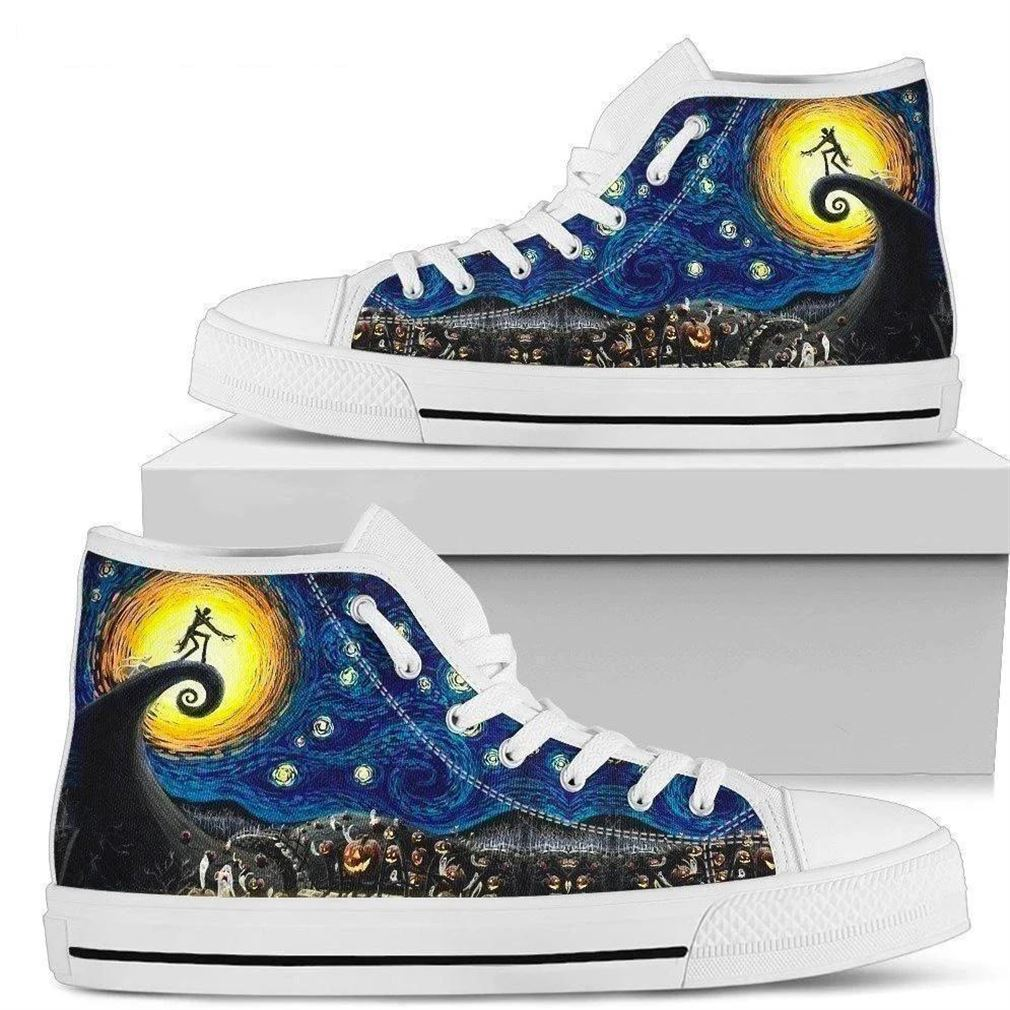 Nightmare Before Christmas Spiral High Top Vans Shoes