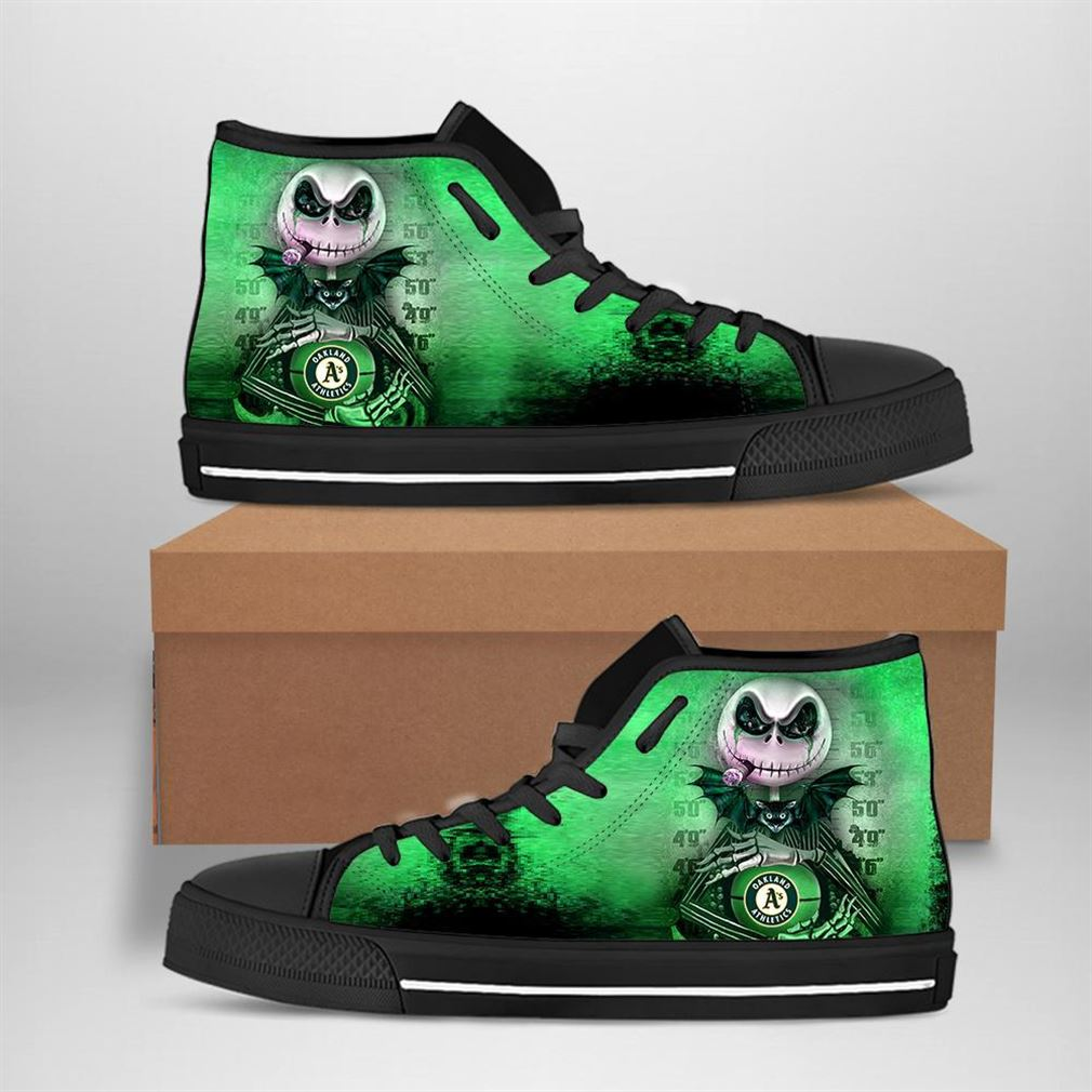 Oakland Athletics Mlb Baseball Jack Skellington High Top Vans Shoes