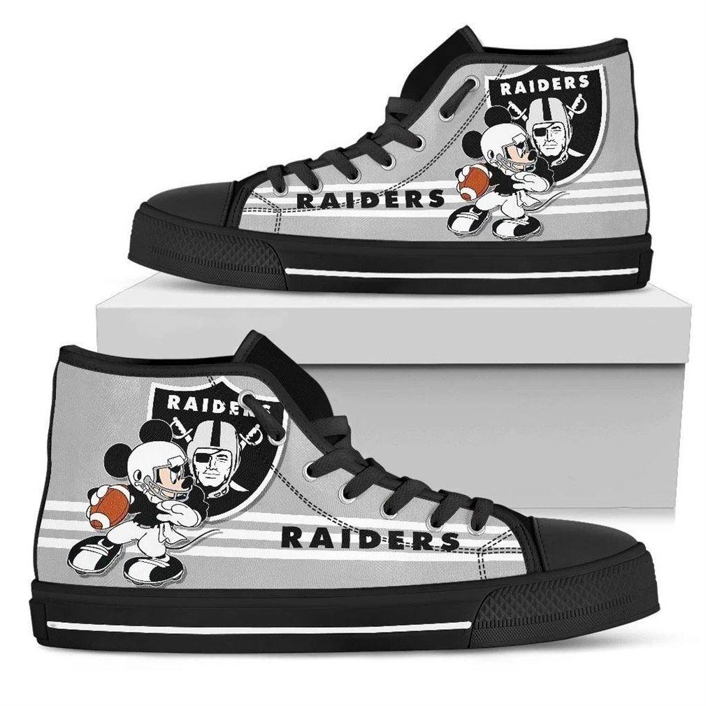 Oakland Raiders Nfl Football High Top Vans Shoes