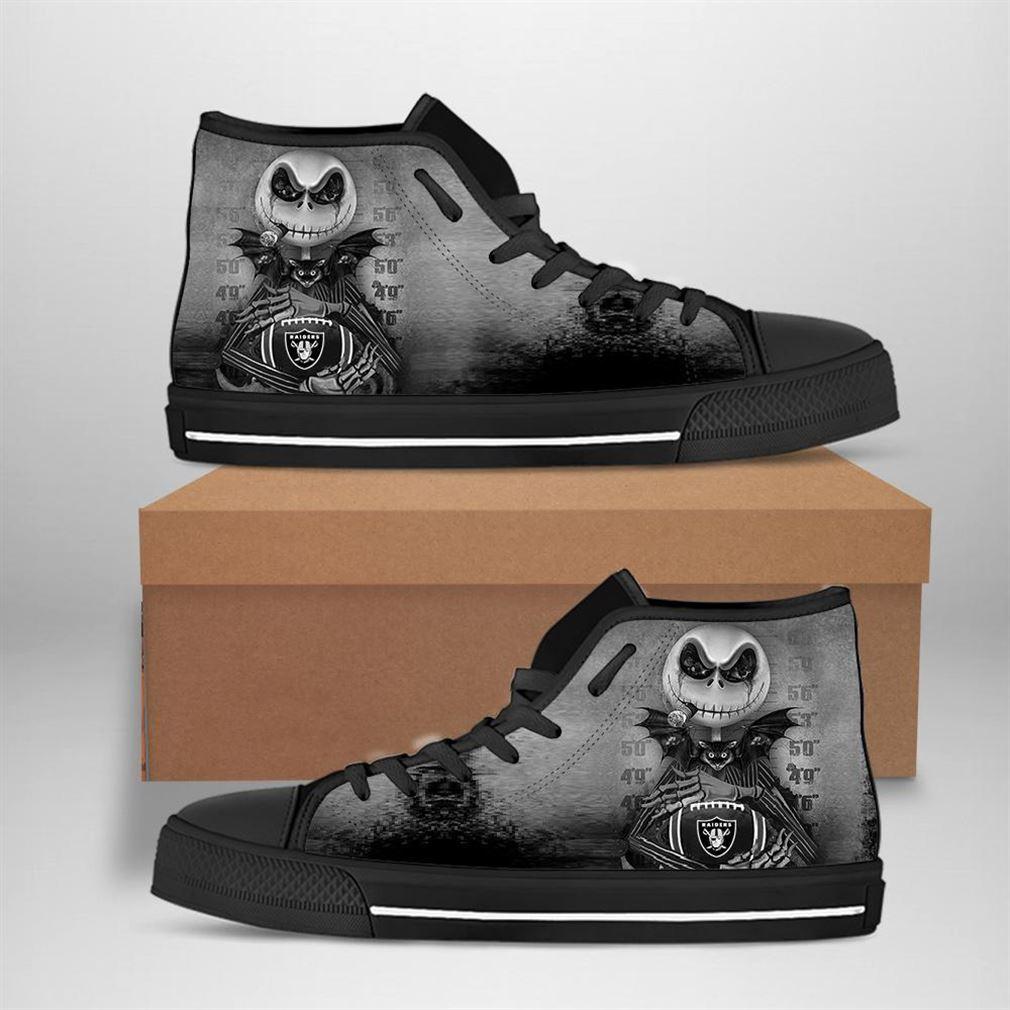 Oakland Raiders Nfl Football Jack Skellington High Top Vans Shoes