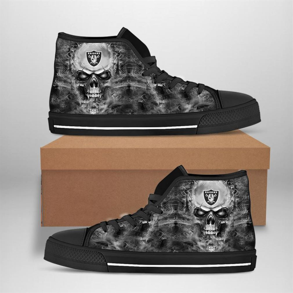 Oakland Raiders Nfl Football Skull High Top Vans Shoes