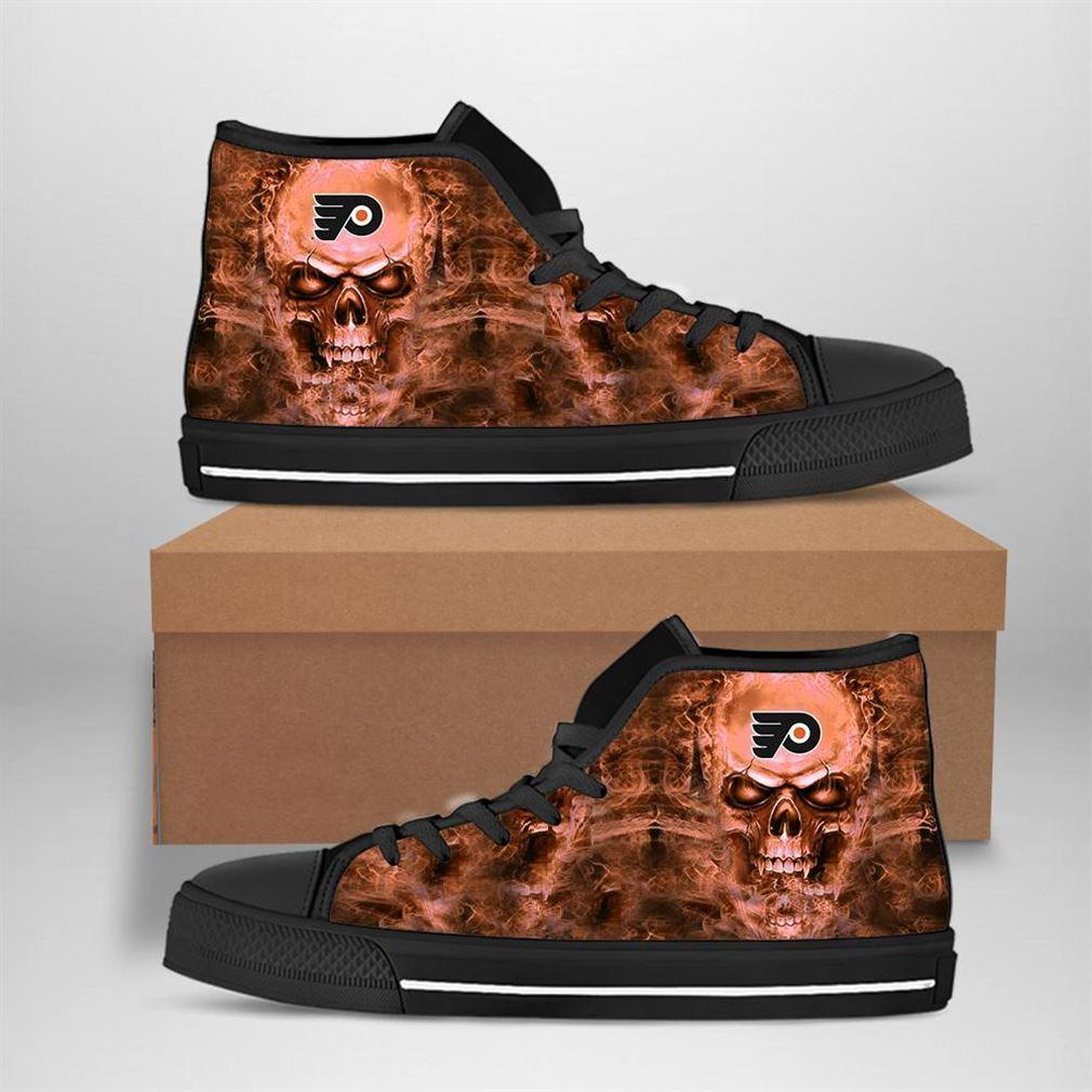 Philadelphia Flyers Nhl Hockey Skull High Top Vans Shoes