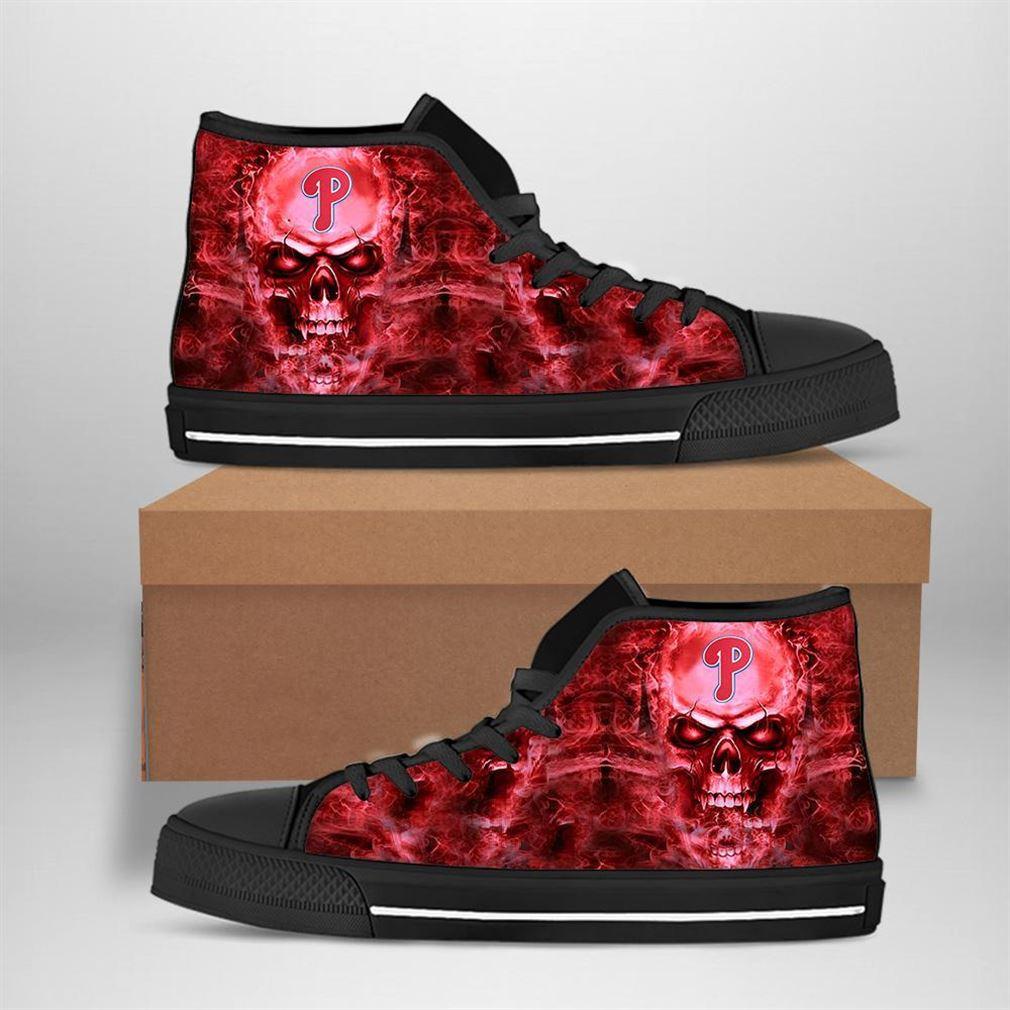 Philadelphia Phillies Mlb Baseball Skull High Top Vans Shoes