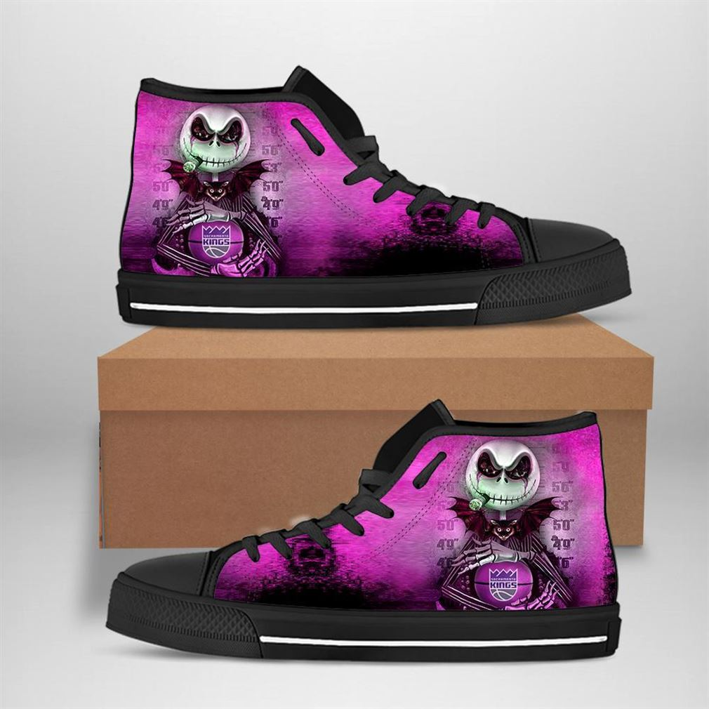 Sacramento Kings Nba Basketball Jack Skellington High Top Vans Shoes