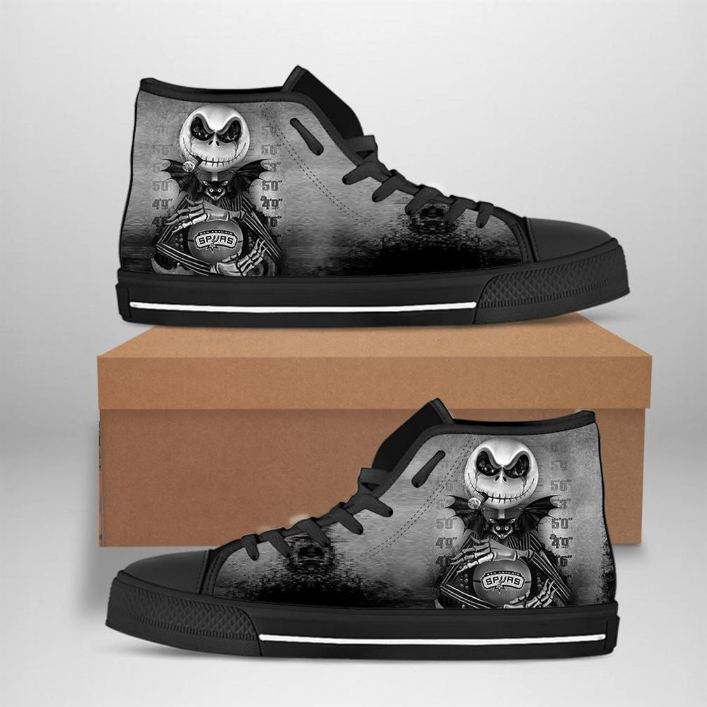 San Antonio Spurs Nba Basketball Jack Skellington High Top Vans Shoes