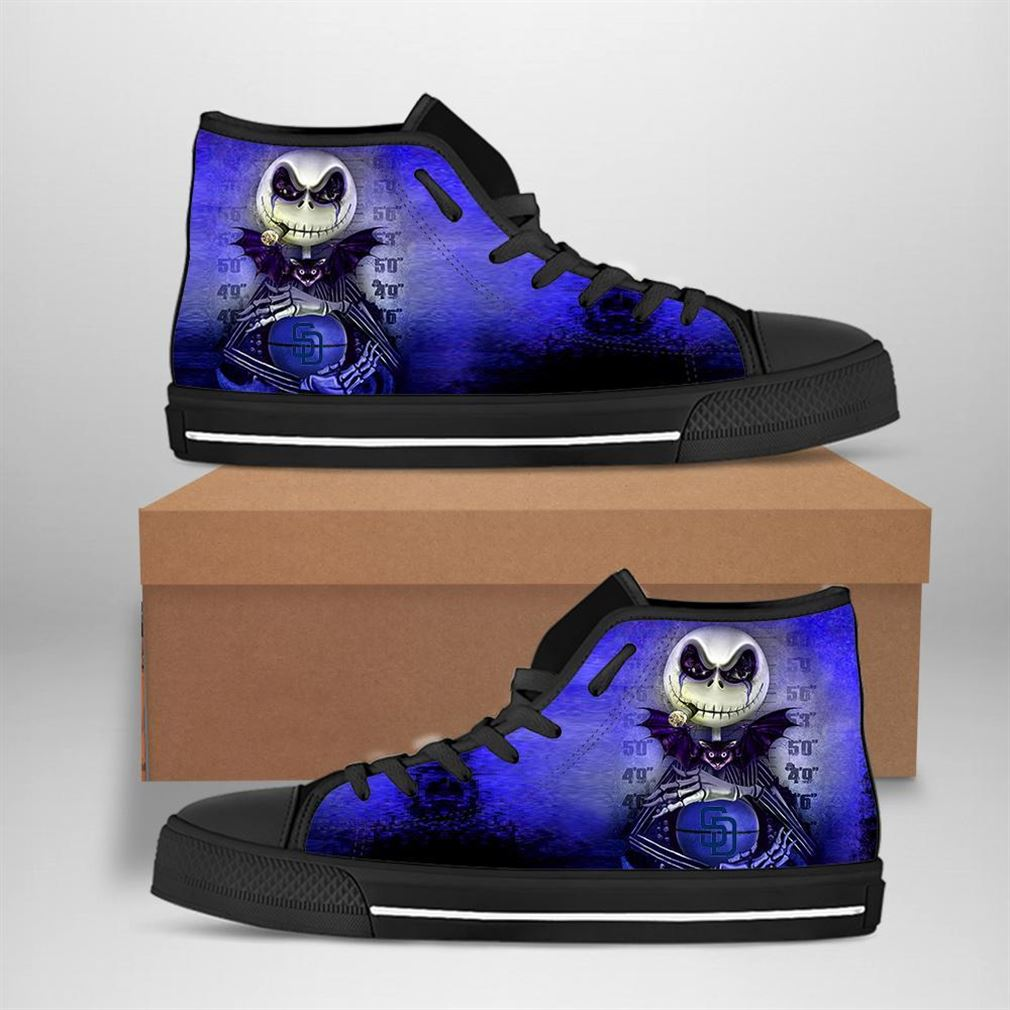San Diego Padres Mlb Baseball Jack Skellington High Top Vans Shoes