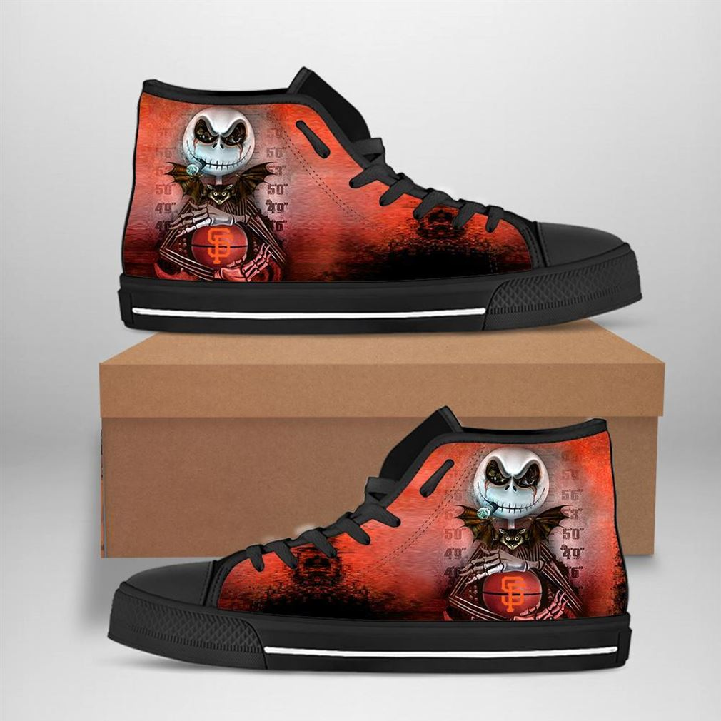 San Francisco Giants Mlb Baseball Jack Skellington High Top Vans Shoes