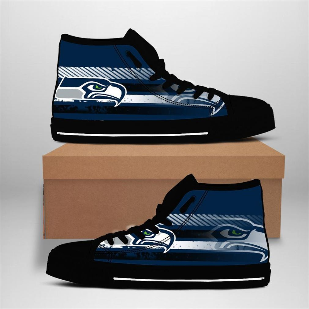 Seattle Seahawks Nfl Football High Top Vans Shoes Y8ifo