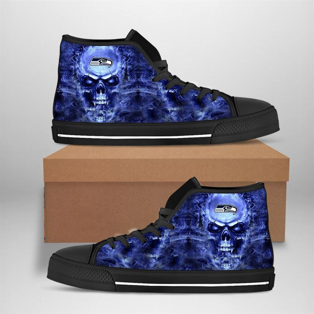 Seattle Seahawks Nfl Football Skull High Top Vans Shoes