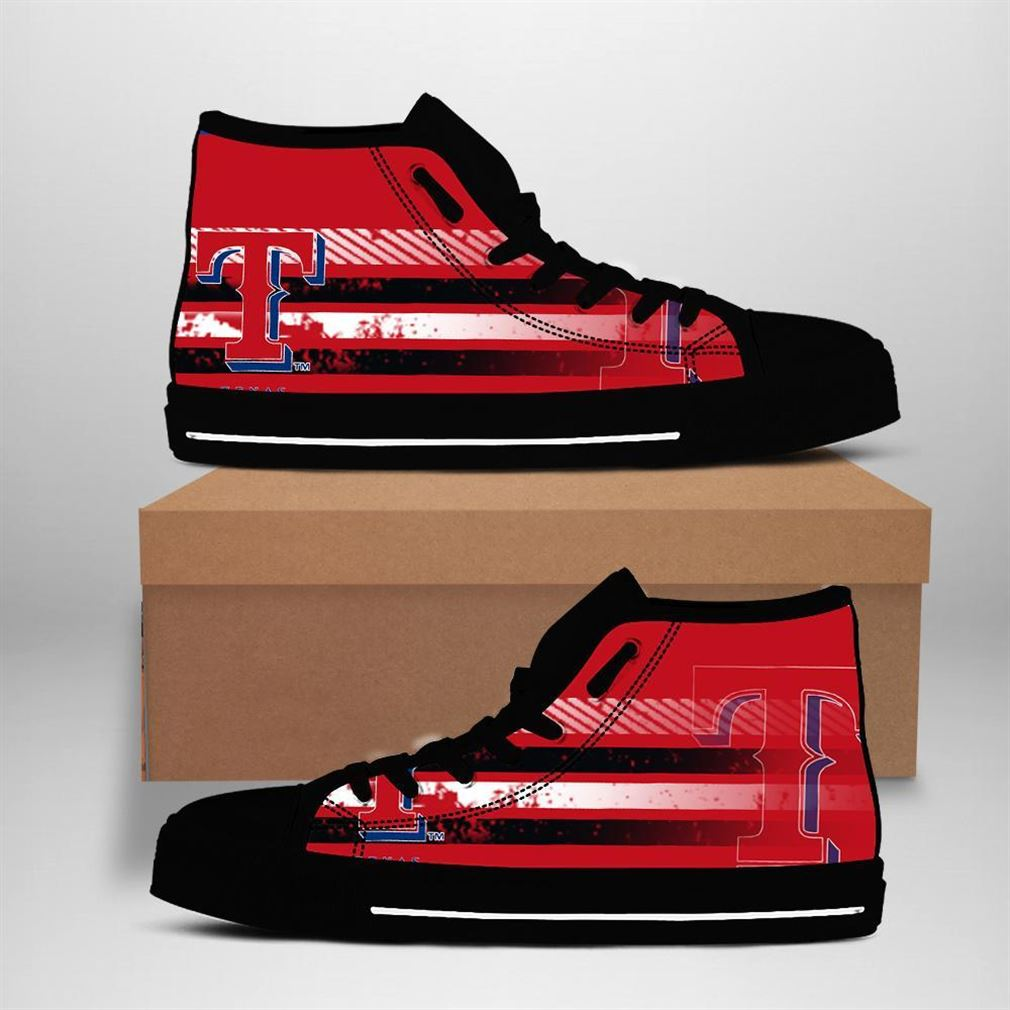 Texas Rangers Mlb Baseball High Top Vans Shoes