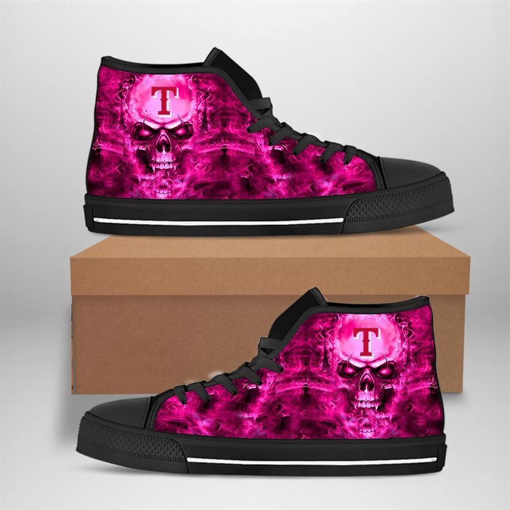 Texas Rangers Mlb Baseball Skull High Top Vans Shoes