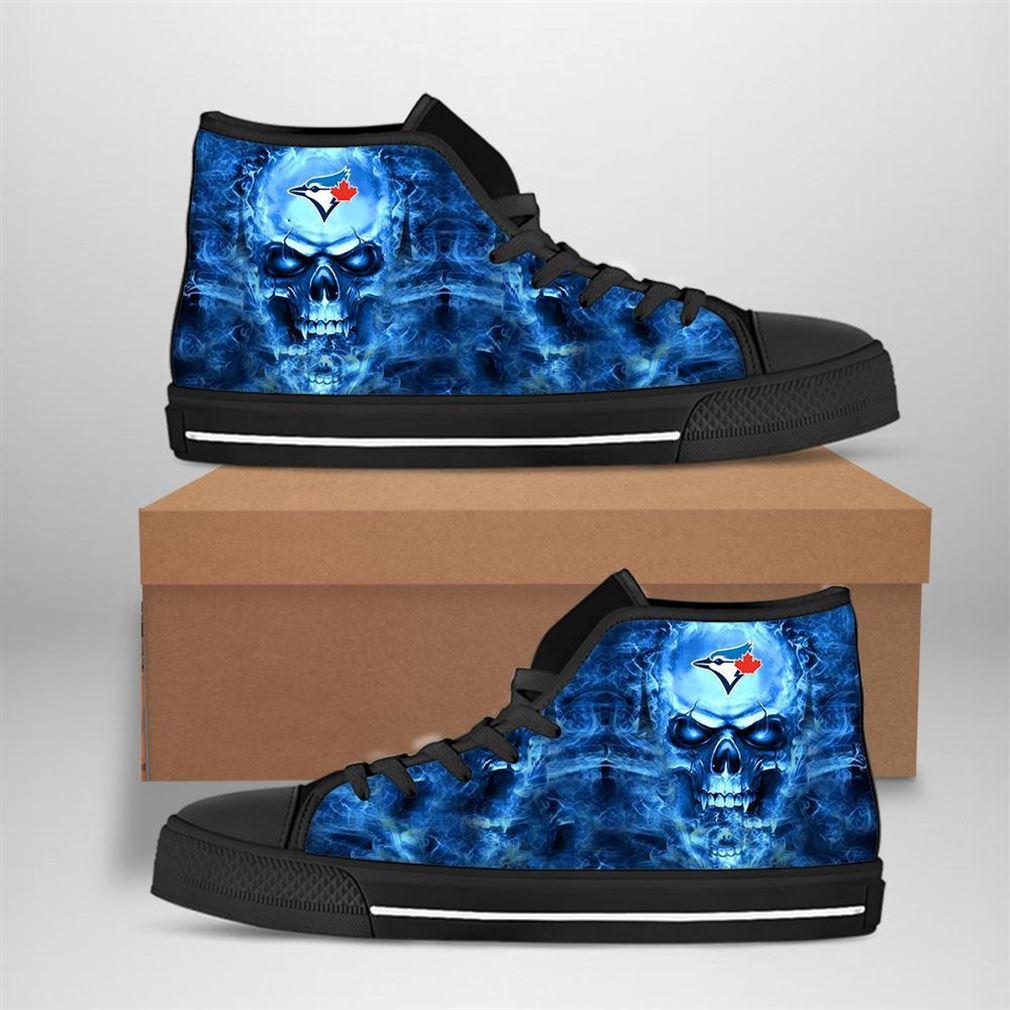 Toronto Blue Jays Mlb Baseball Skull High Top Vans Shoes