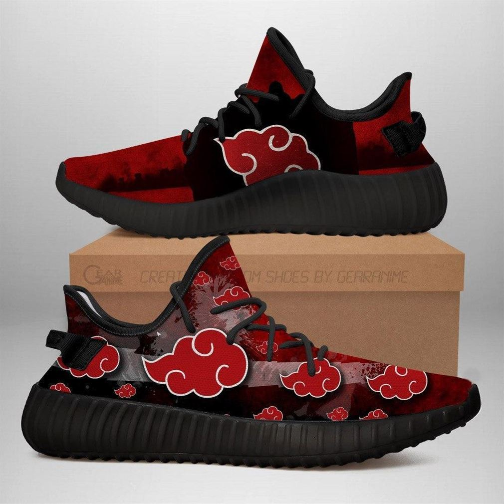 Akatsuki Cloud Yz Sneakers Naruto Shoes Anime Yeezy Sneakers Shoes Black