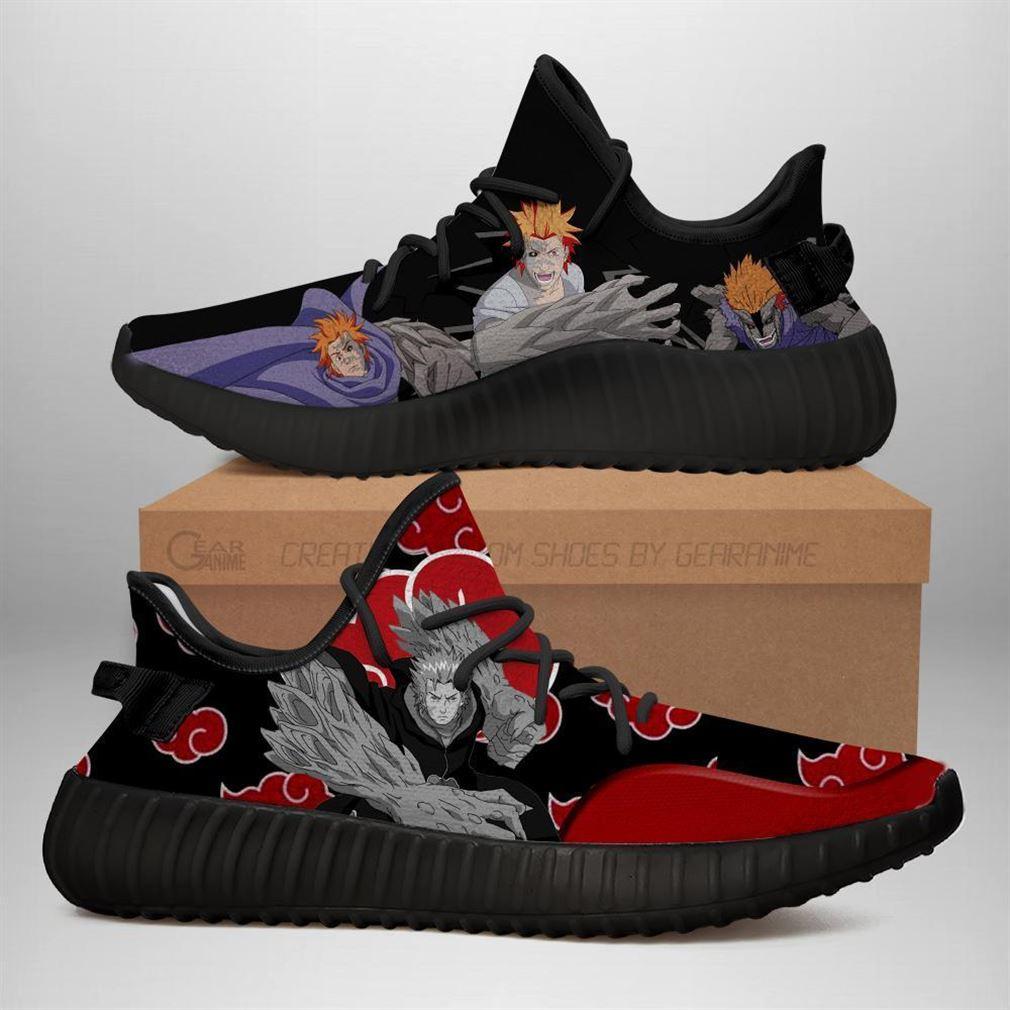 Akatsuki Jugo Naruto Yeezy Sneakers Shoes Black