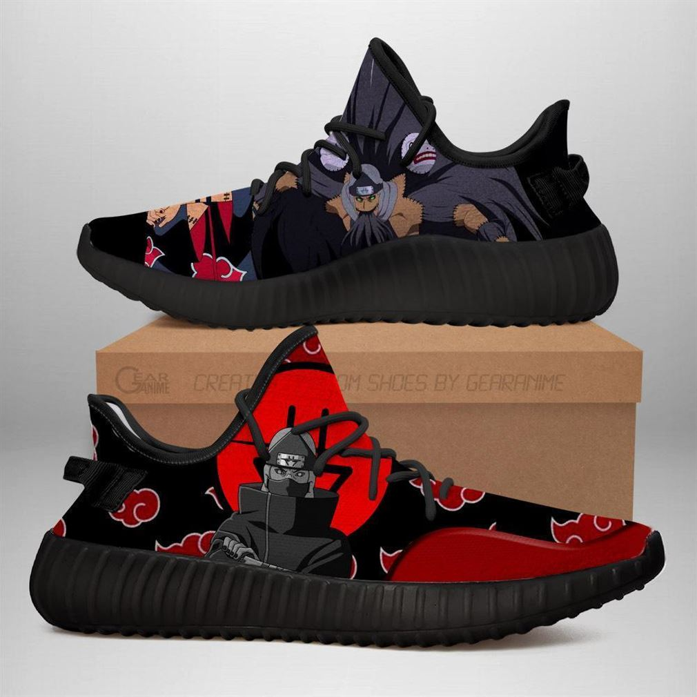 Akatsuki Kazuku Yz Sneakers Naruto Shoes Anime Yeezy Sneakers Shoes Black