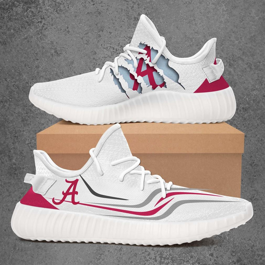Alabama Crimson Tide Ncaa Sport Teams Yeezy Sneakers Shoes White