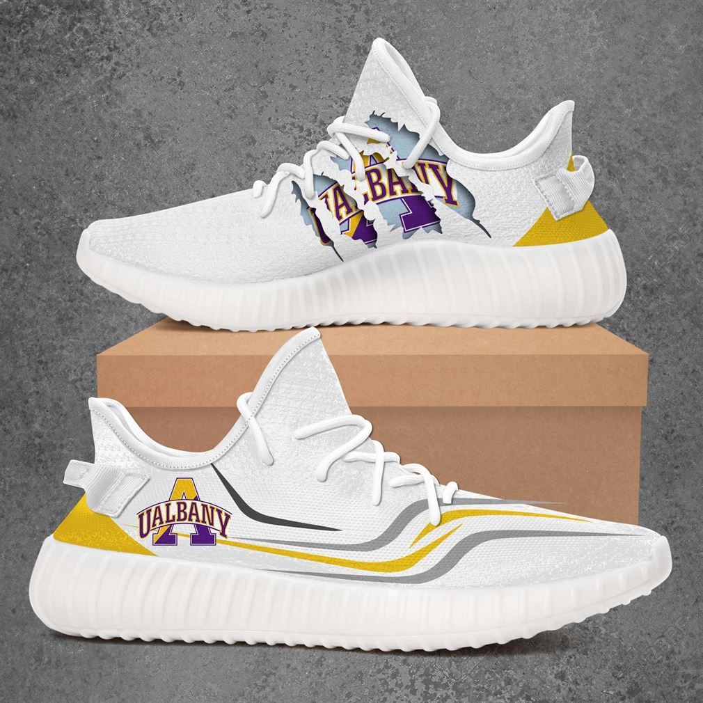 Albany Great Danes Ncaa Sport Teams Yeezy Sneakers Shoes White
