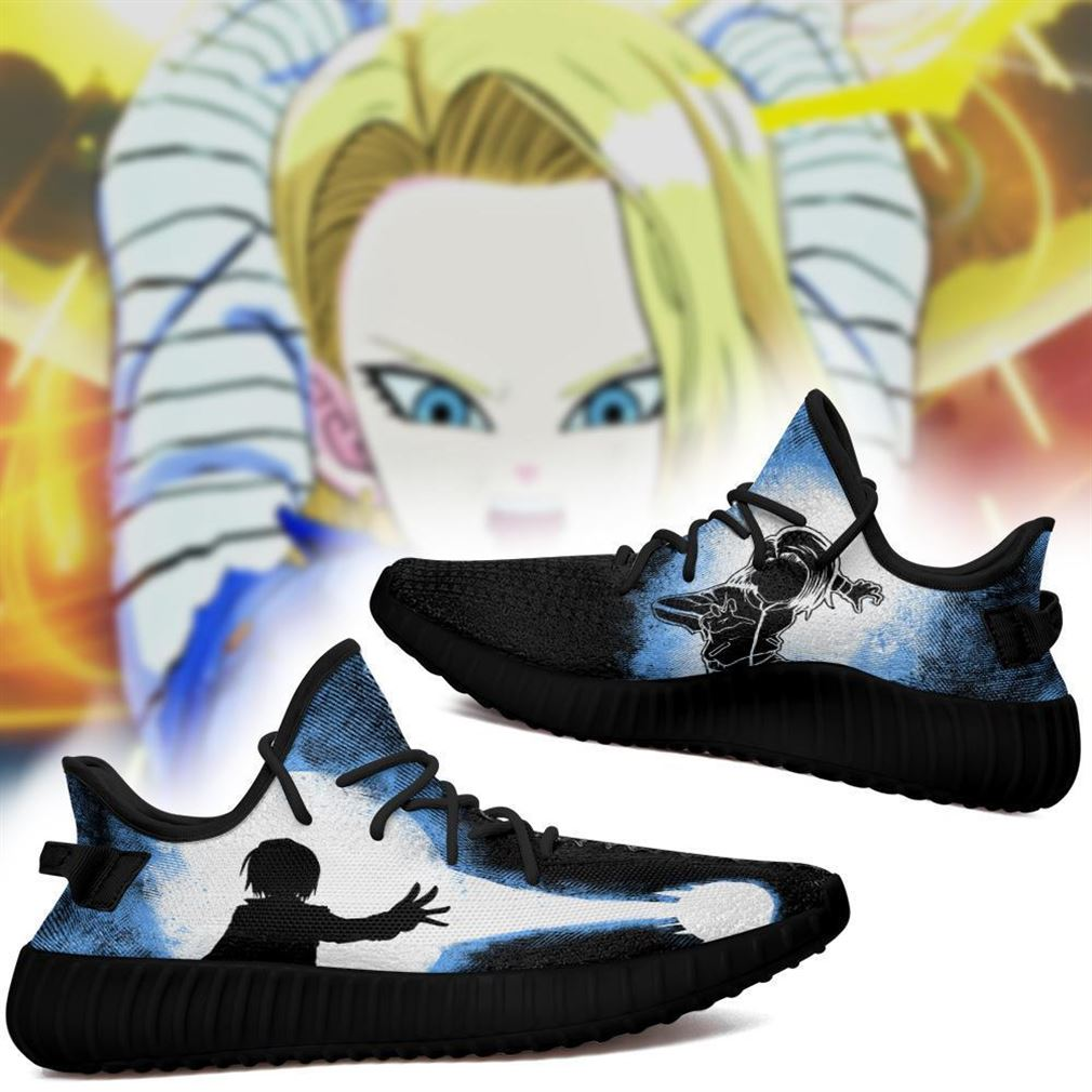 Android 18 Yz Sneakers Skill Custom Dragon Ball Z Shoes Anime Yeezy Sneakers Shoes Black