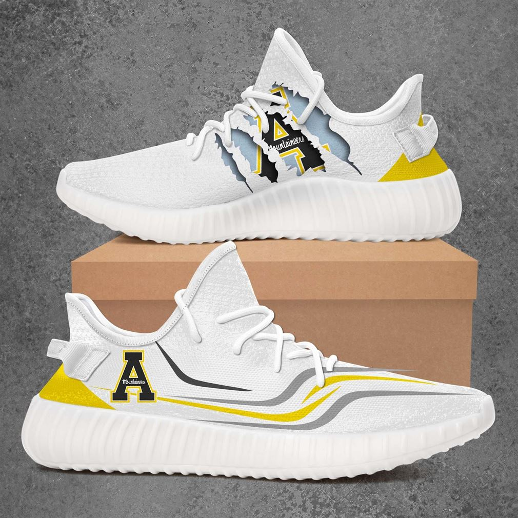 Appalachian State Mountaineers Ncaa Sport Teams Yeezy Sneakers Shoes White