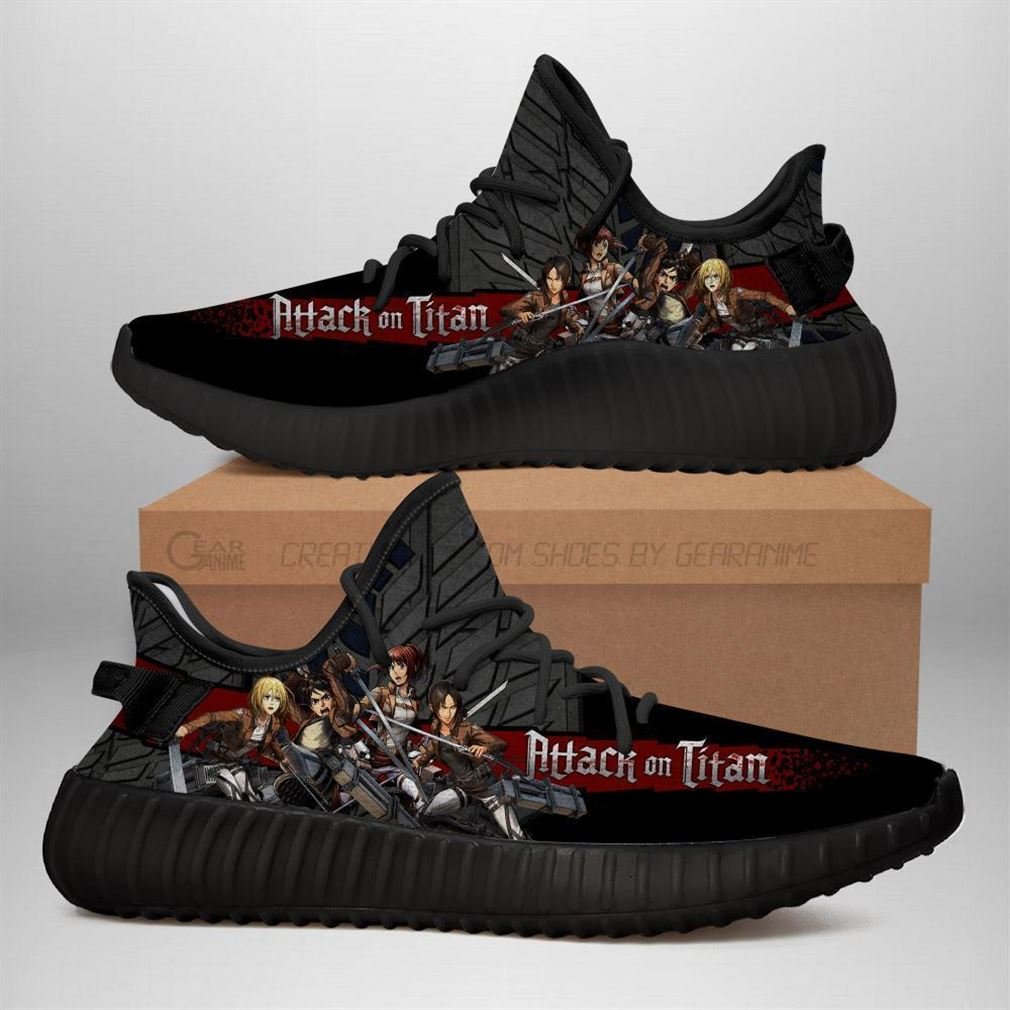 Attack On Titan Yz Sneakers Anime Shoes Yeezy Sneakers Shoes Black
