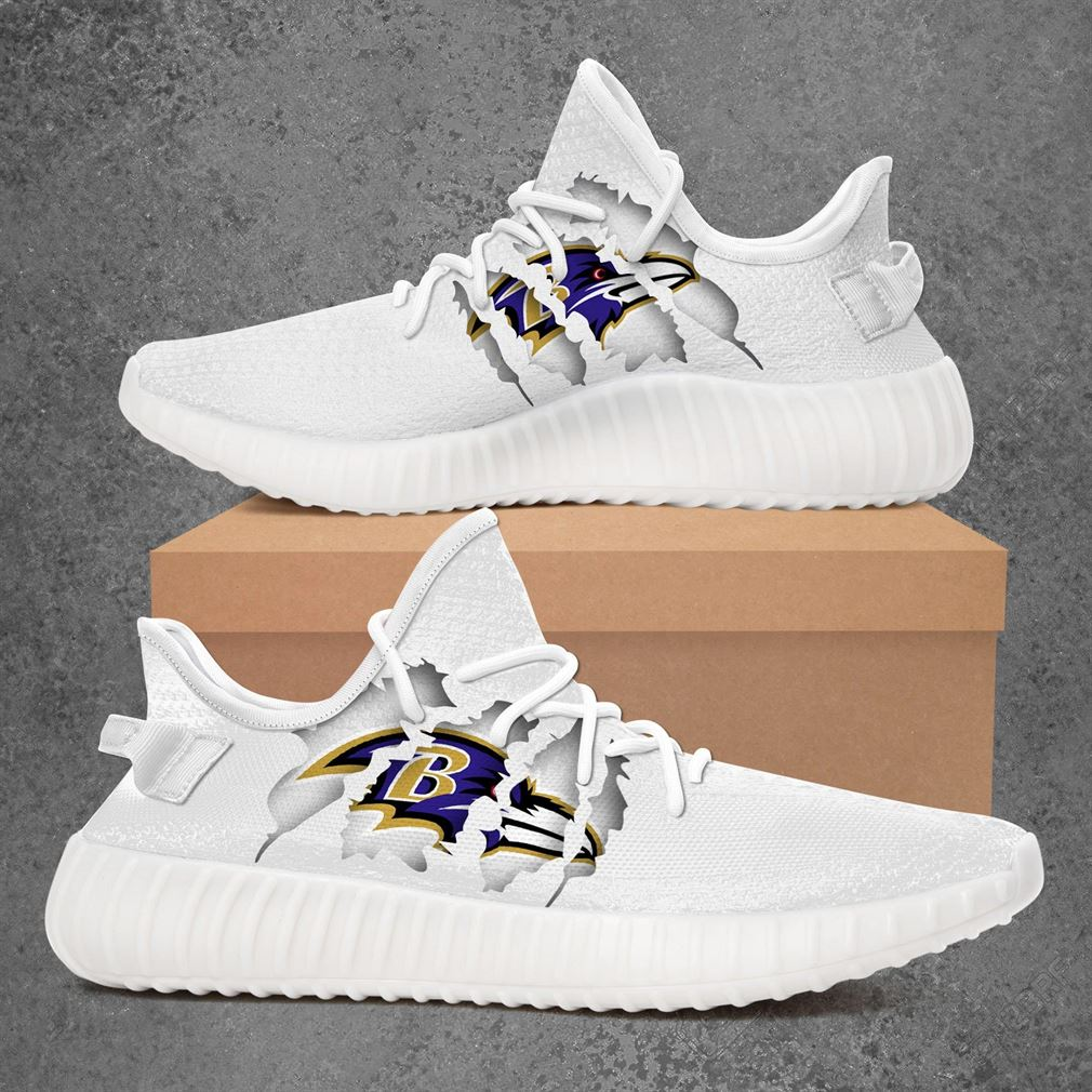 Baltimore Ravens Nfl Sport Teams Yeezy Sneakers Shoes White