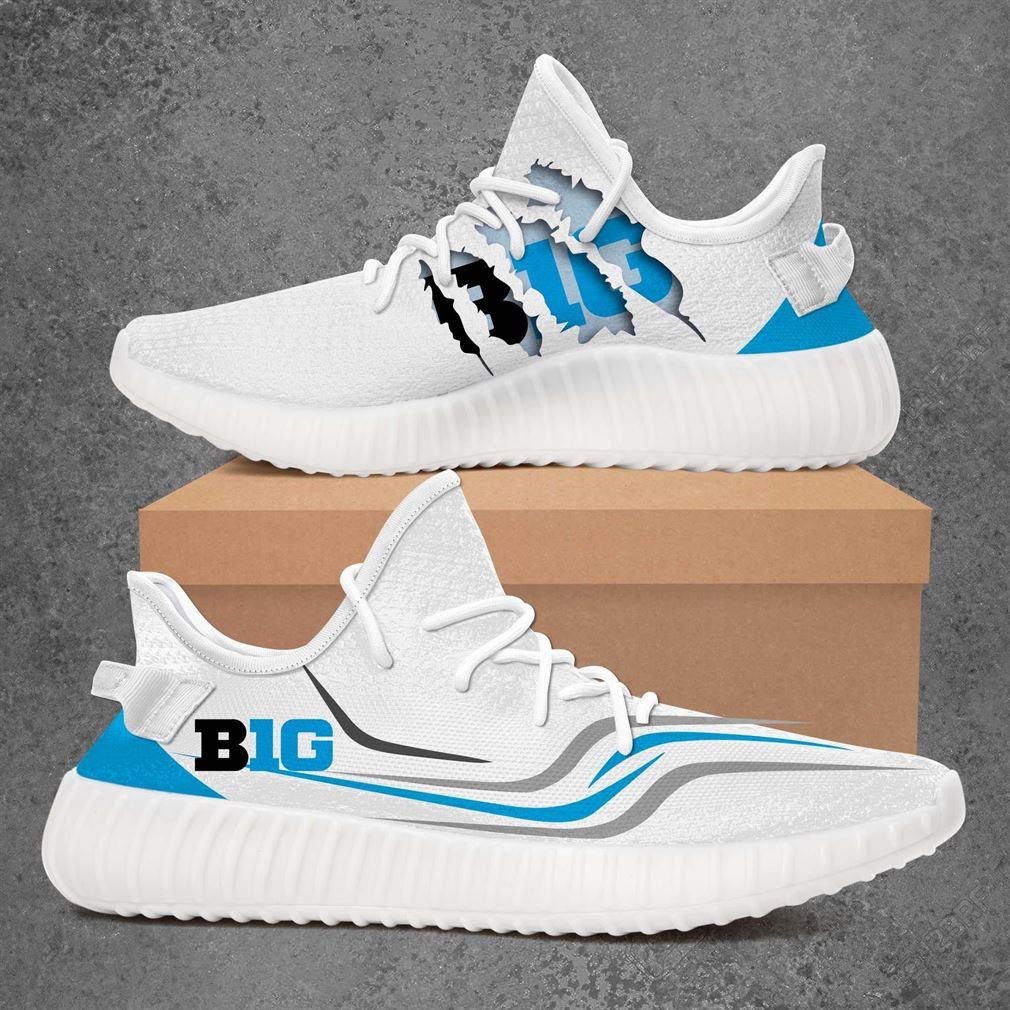 Big Ten Gear Ncaa Sport Teams Yeezy Sneakers Shoes White