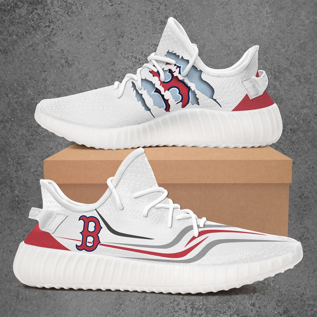Boston Red Sox Mlb Sport Teams Yeezy Sneakers Shoes White