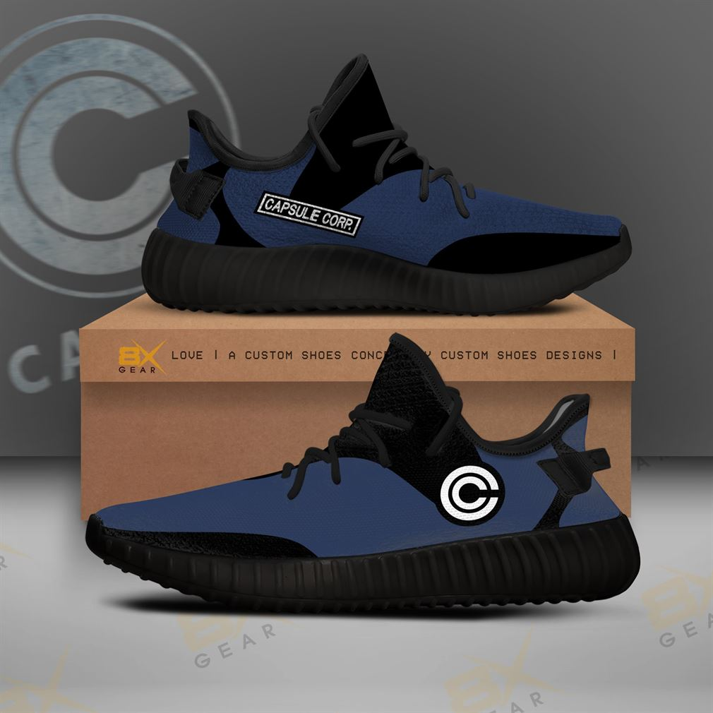 Capsule Corp Classic Label Yezzy Sneakers Dragon Ball Fashion Gift Yeezy Sneakers Shoes White