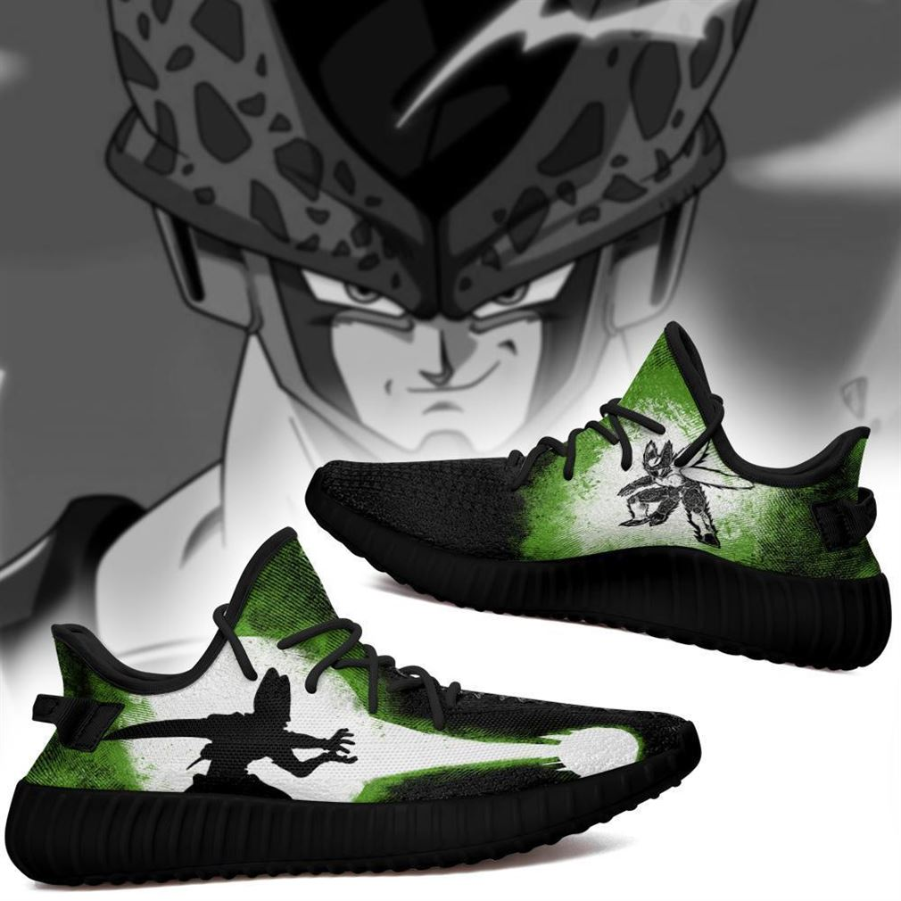 Cell Silhouette Yz Sneakers Skill Custom Dragon Ball Z Shoes Anime Yeezy Sneakers Shoes Black
