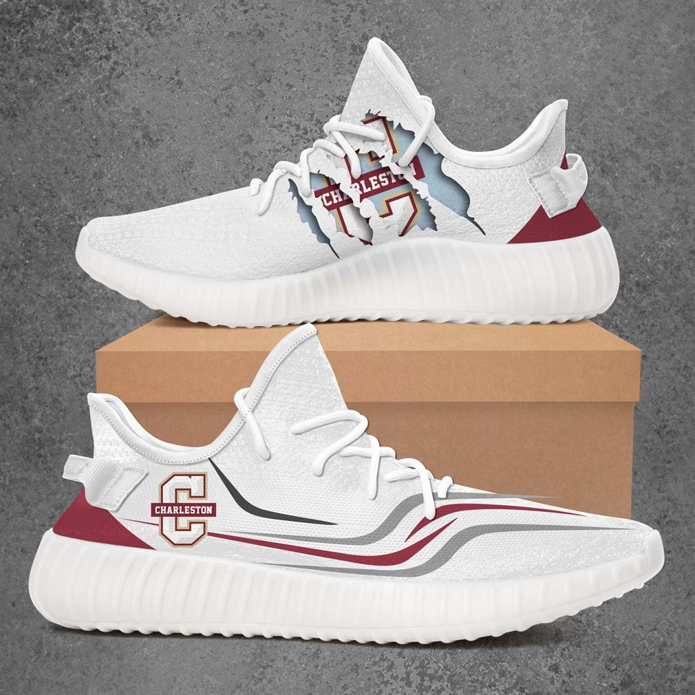 Charleston Cougars Ncaa Sport Teams Yeezy Sneakers Shoes White