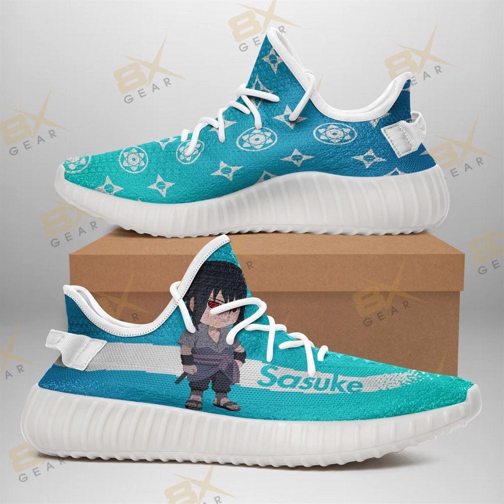 Chibi Sasuke Yeezy Sneakers Fashion Mixed For Naruto Fan Yeezy Sneakers Shoes White