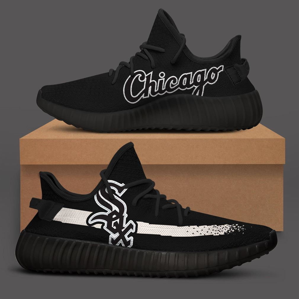 Chicago White Sox Black Mlb Teams Runing Yeezy Sneakers Shoes