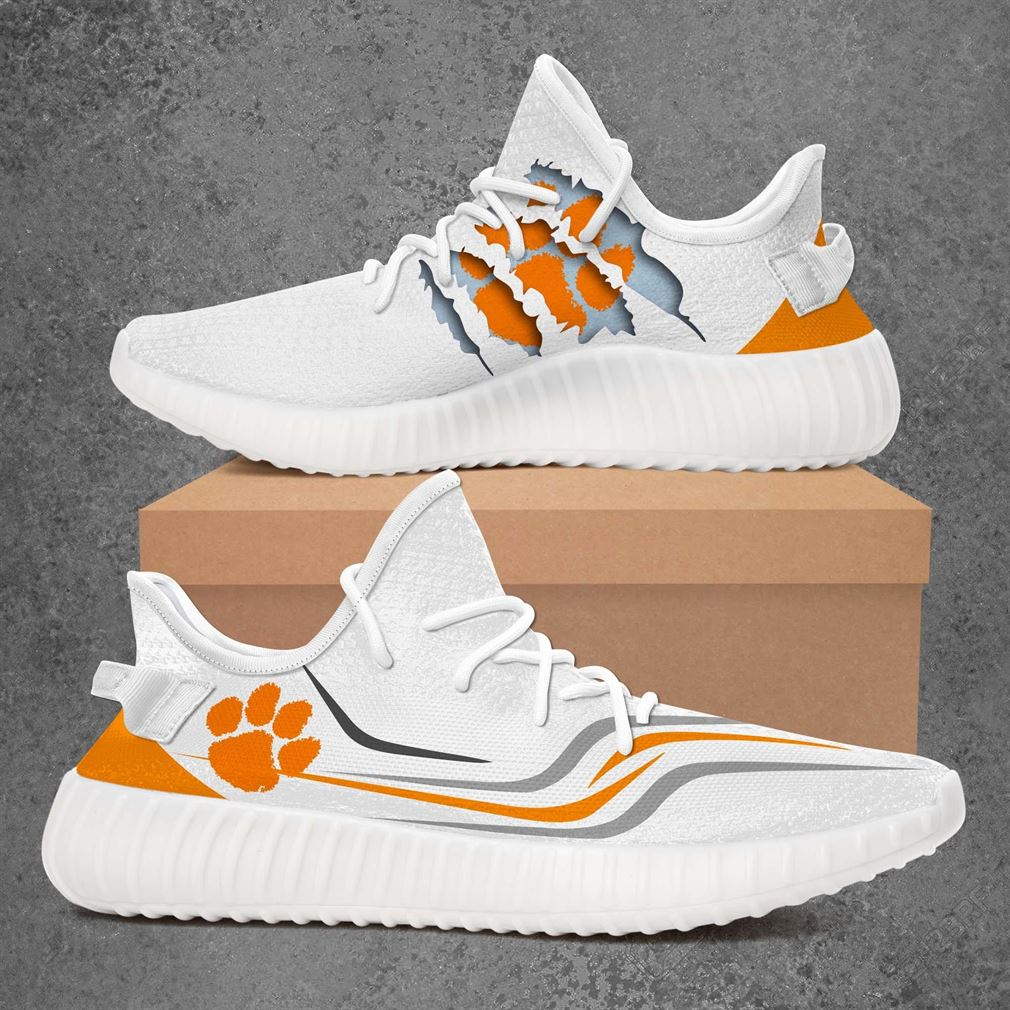 Clemson Tigers Ncaa Sport Teams Yeezy Sneakers Shoes White