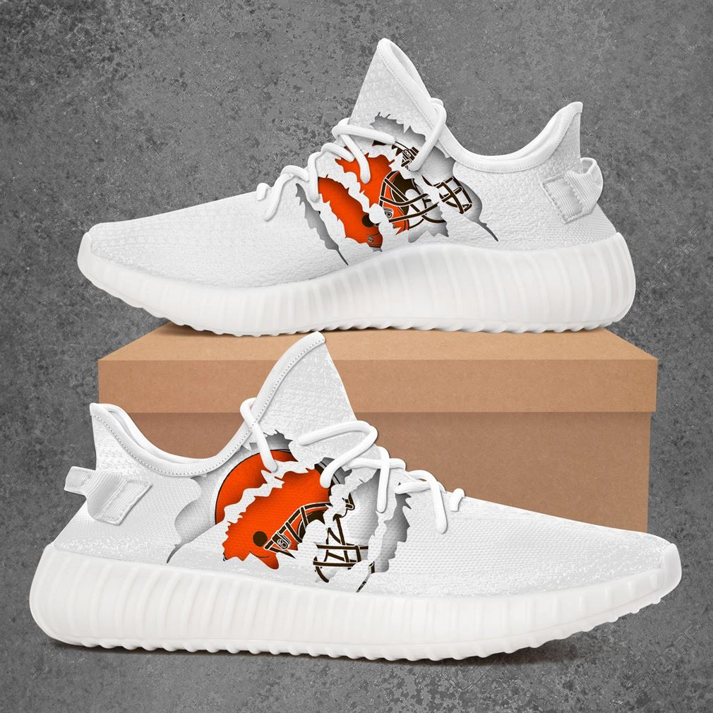 Cleveland Browns Nfl Sport Teams Yeezy Sneakers Shoes White