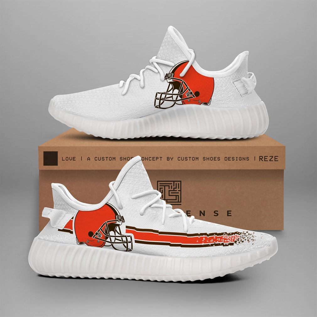Cleveland Browns Nfl Teams Runing Yeezy Sneakers Shoes