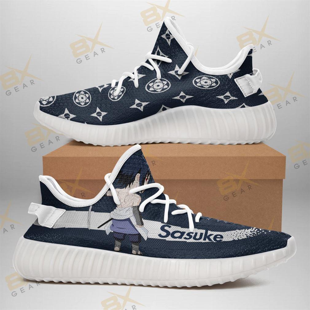 Cool Sasuke Naruto Yeezy Sneakers Fashion Mixed Anime Fan Yeezy Sneakers Shoes White