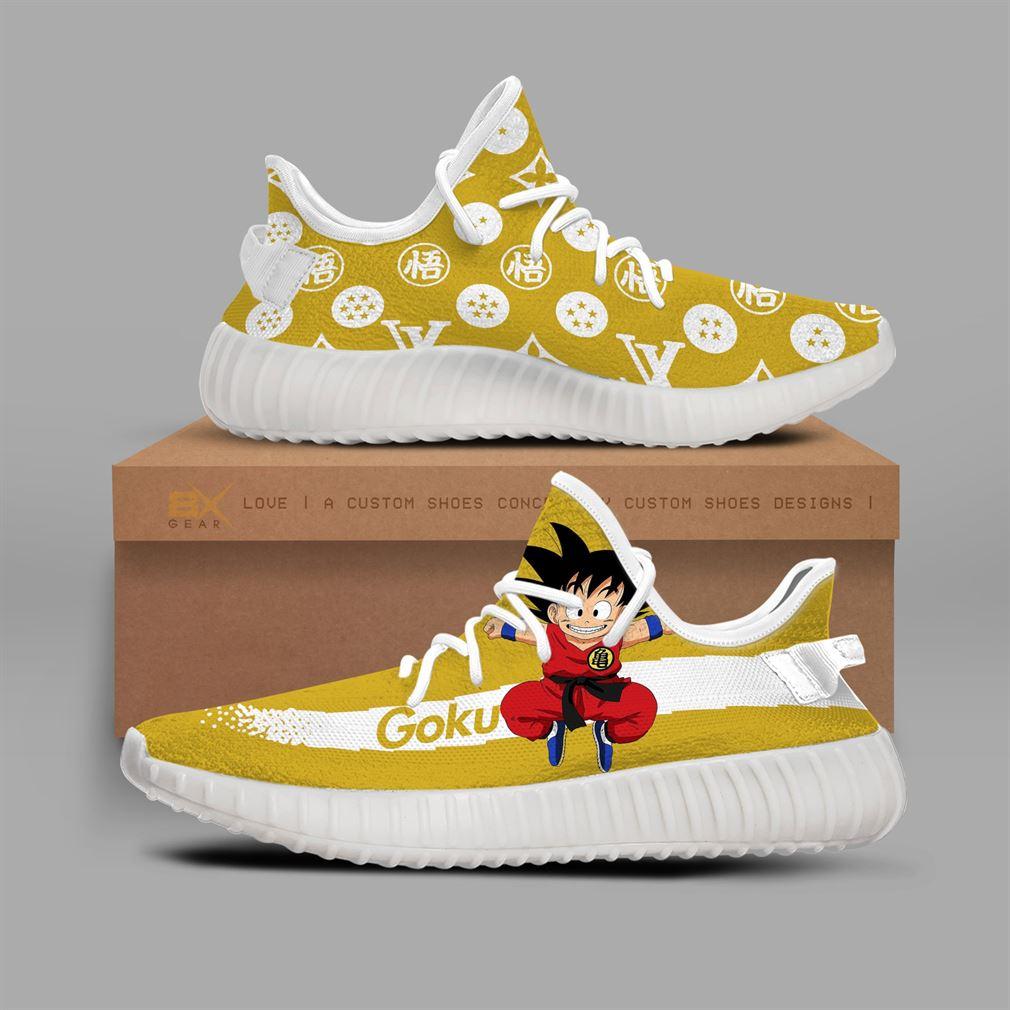 Cute Goku Yeezy Sneakers Fashion Mix For Dragon Ball Fan Gift Yeezy Sneakers Shoes White