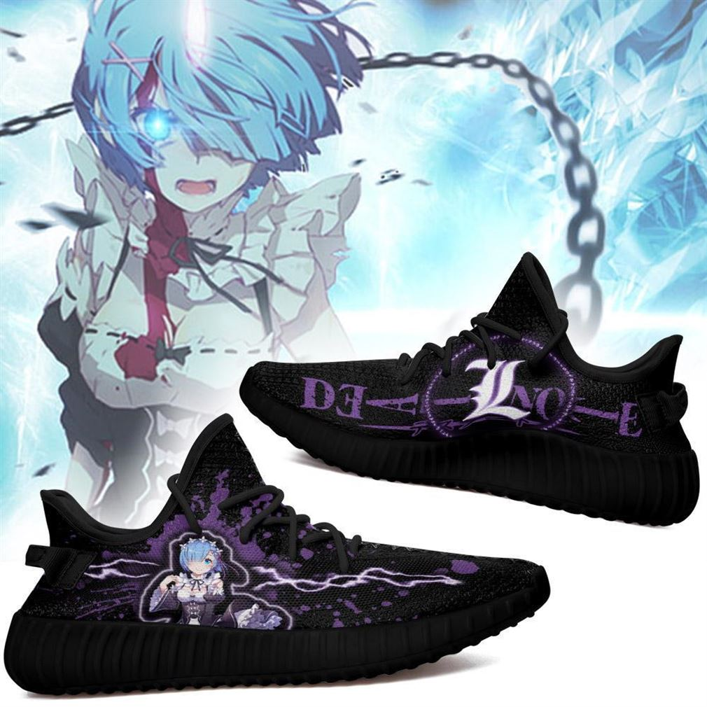 Death Note Rem Yz Sneakers Death Note Shoes Anime Yeezy Sneakers Shoes Black