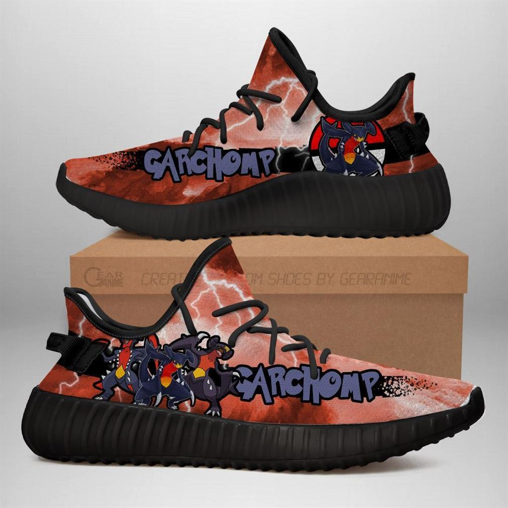 Garchomp Yz Sneakers Pokemon Shoes Anime Yeezy Sneakers Shoes Black