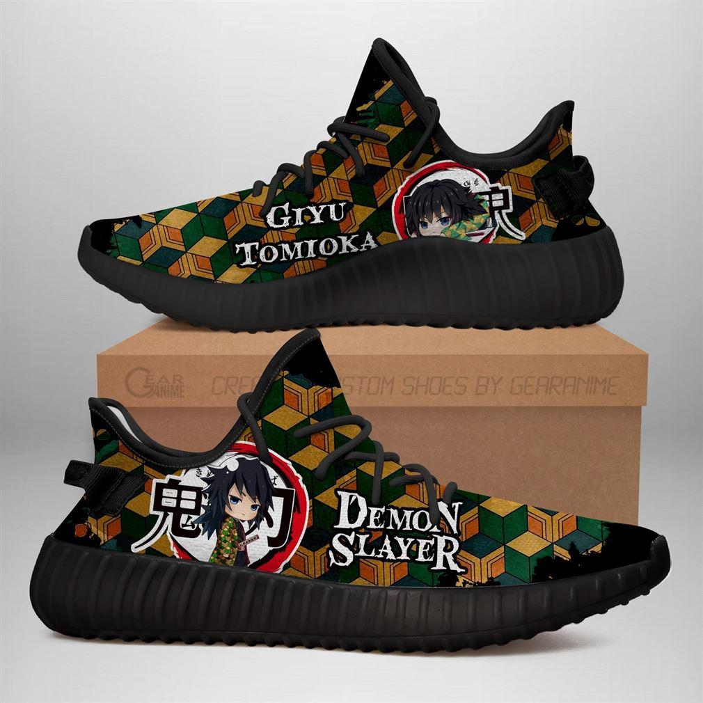 Giyu Tomioka Yz Sneakers Demon Slayer Shoes Anime Shoes Yeezy Sneakers Shoes Black