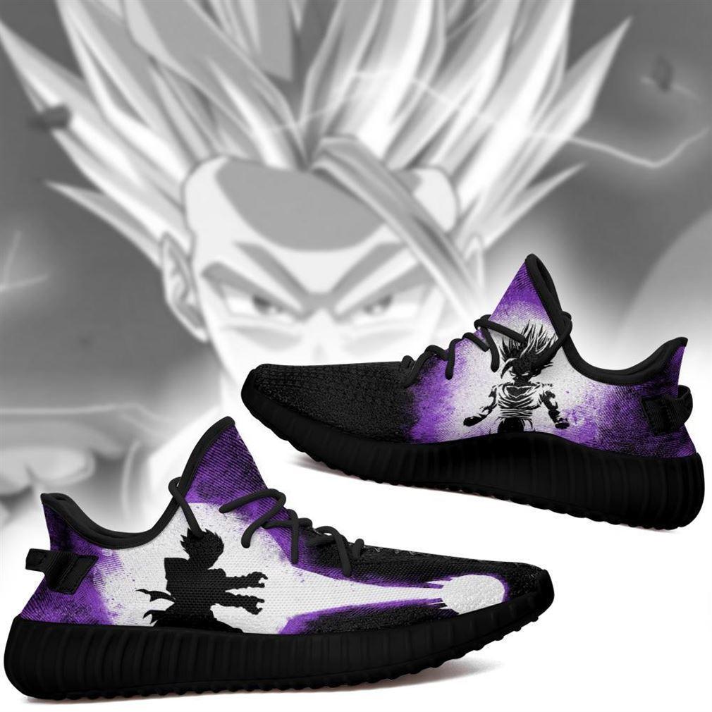 Gohan Silhouette Yz Sneakers Skill Custom Dragon Ball Z Shoes Anime Yeezy Sneakers Shoes Black