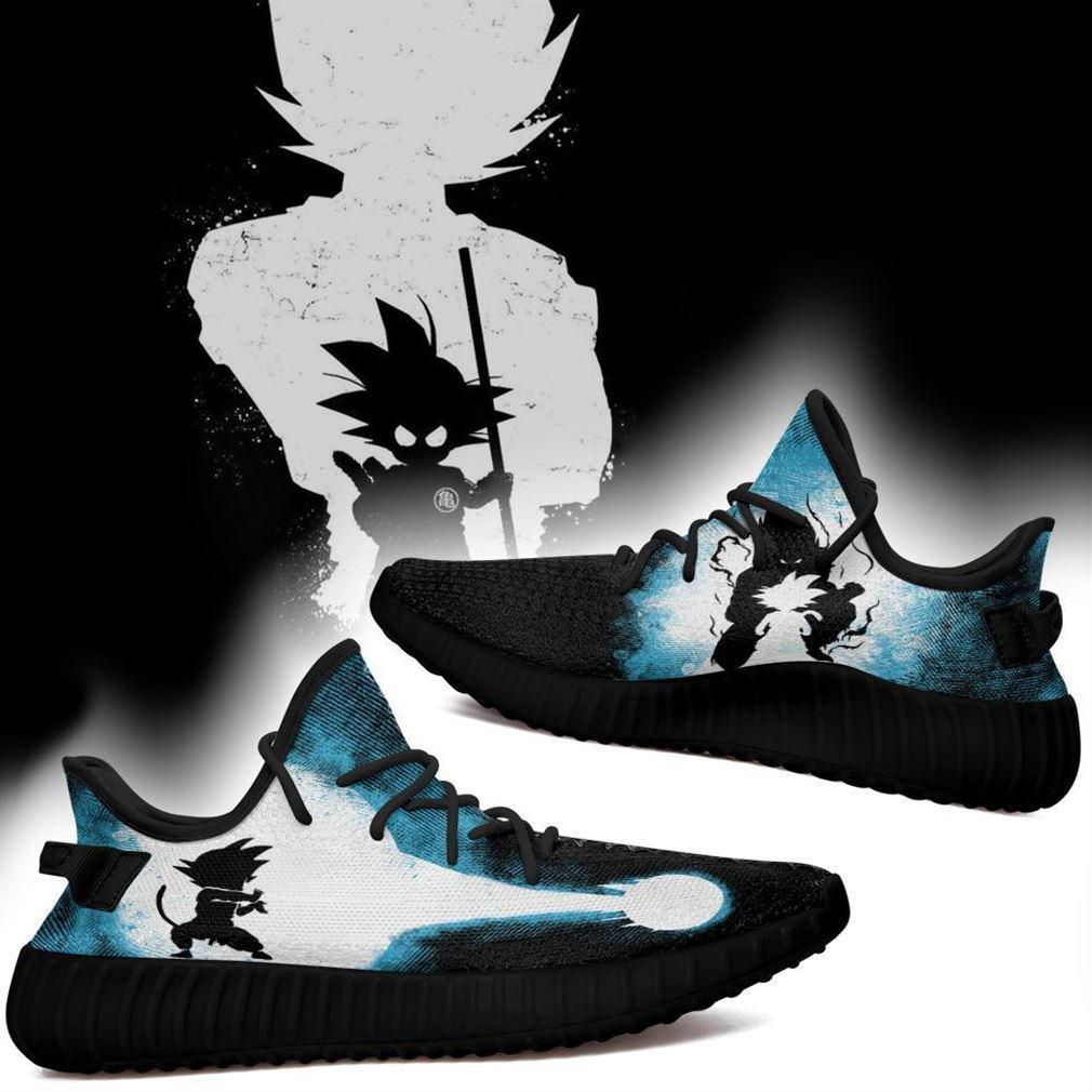 Goku Silhouette Yz Sneakers Skill Custom Dragon Ball Z Shoes Anime Yeezy Sneakers Shoes Black