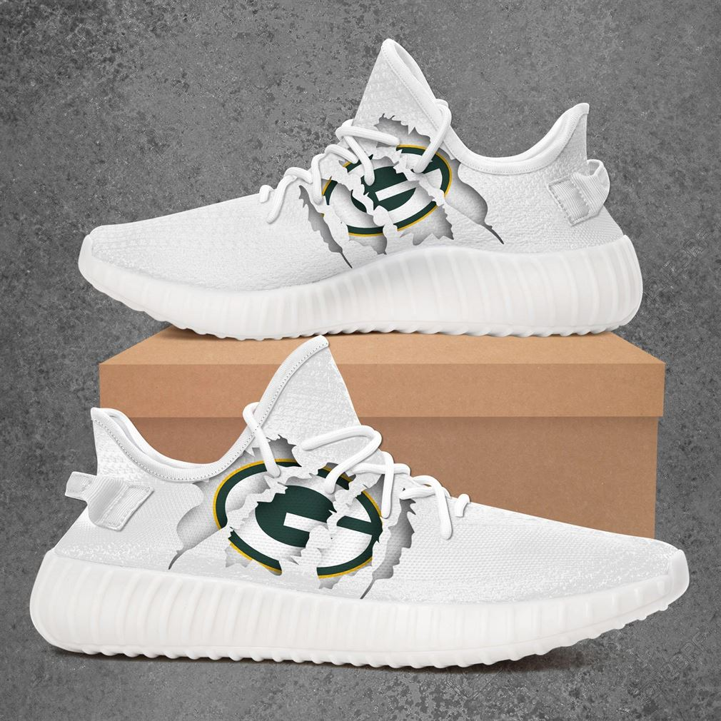 Green Bay Packers Nfl Sport Teams Yeezy Sneakers Shoes White